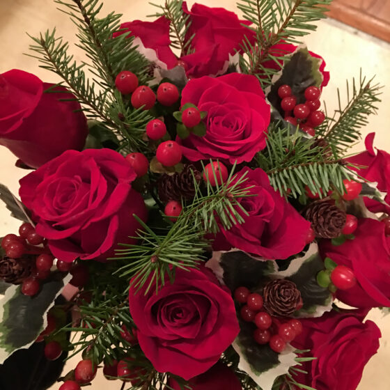 Close up of deep red roses in a bouquet