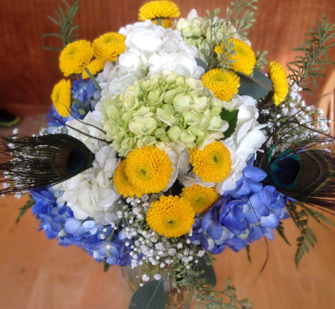 Blue & yellow bouquet