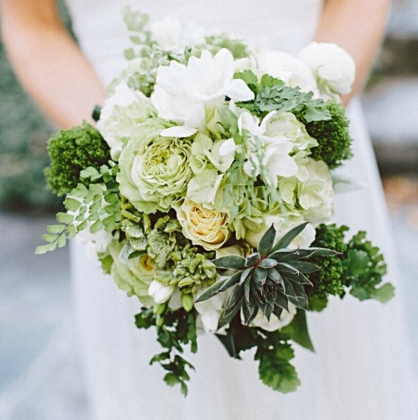 A bouquet made of various green succulent plants and white flowers