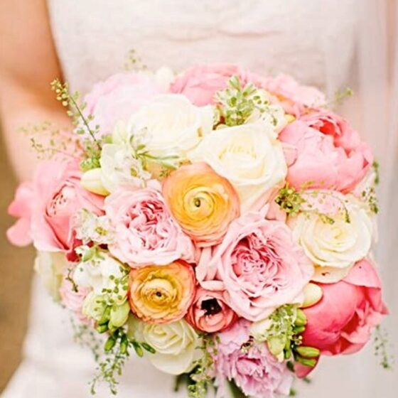 Pink, peach and white floral bouquet