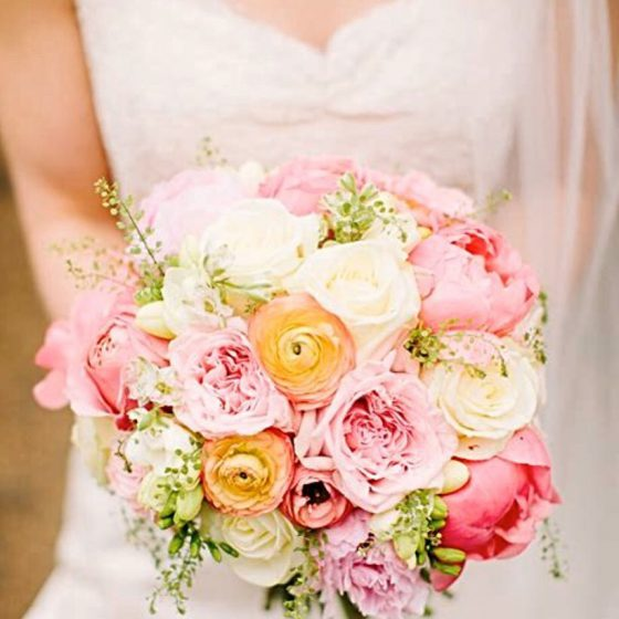 Pretty pink and orange bouquet of flowers