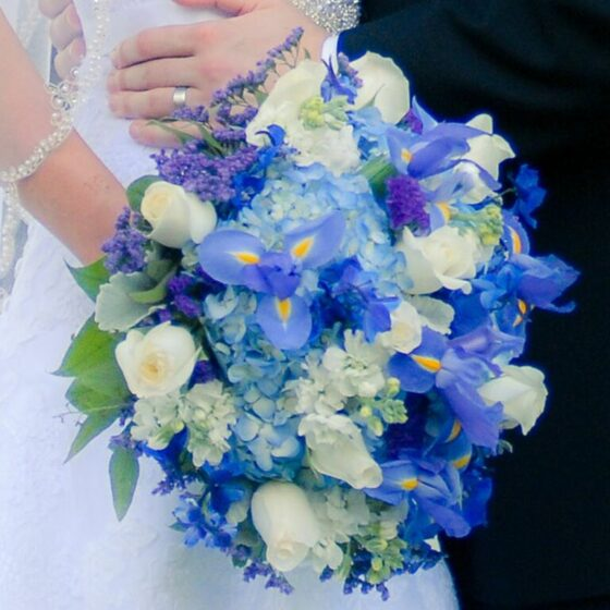 Bouquet of flowers in varying shades of blue