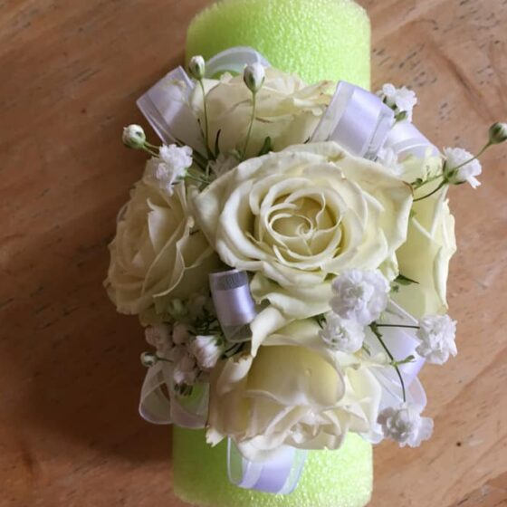 Corsage of white roses